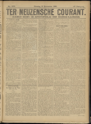 Ter Neuzensche Courant. Algemeen Nieuws- en Advertentieblad voor Zeeuwsch-Vlaanderen / Neuzensche Courant ... (idem) / (Algemeen) nieuws en advertentieblad voor Zeeuwsch-Vlaanderen 1920-11-16
