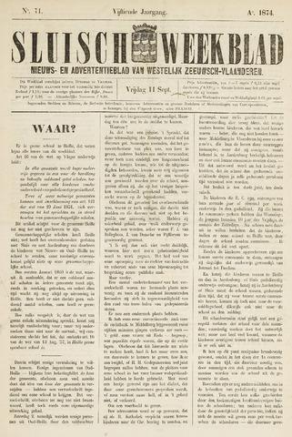 Sluisch Weekblad. Nieuws- en advertentieblad voor Westelijk Zeeuwsch-Vlaanderen 1874-09-11