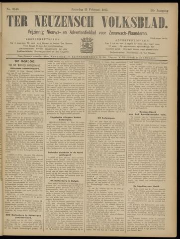 Ter Neuzensch Volksblad. Vrijzinnig nieuws- en advertentieblad voor Zeeuwsch- Vlaanderen / Zeeuwsch Nieuwsblad. Nieuws- en advertentieblad voor Zeeland 1915-02-13