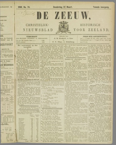 De Zeeuw. Christelijk-historisch nieuwsblad voor Zeeland 1888-03-22