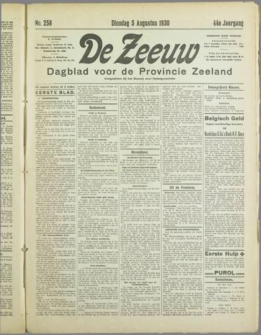 De Zeeuw. Christelijk-historisch nieuwsblad voor Zeeland 1930-08-05