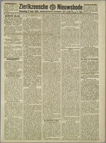 Zierikzeesche Nieuwsbode 1922-09-27