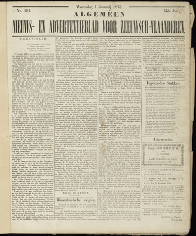 Ter Neuzensche Courant. Algemeen Nieuws- en Advertentieblad voor Zeeuwsch-Vlaanderen / Neuzensche Courant ... (idem) / (Algemeen) nieuws en advertentieblad voor Zeeuwsch-Vlaanderen 1873-01-01