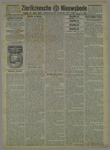 Zierikzeesche Nieuwsbode 1923-04-27