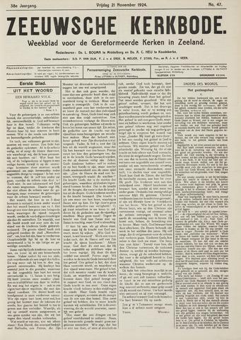 Zeeuwsche kerkbode, weekblad gewijd aan de belangen der gereformeerde kerken/ Zeeuwsch kerkblad 1924-11-21