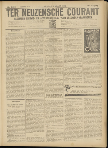 Ter Neuzensche Courant. Algemeen Nieuws- en Advertentieblad voor Zeeuwsch-Vlaanderen / Neuzensche Courant ... (idem) / (Algemeen) nieuws en advertentieblad voor Zeeuwsch-Vlaanderen 1936-03-06