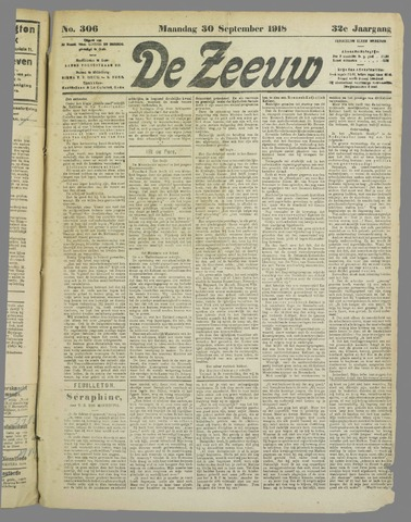 De Zeeuw. Christelijk-historisch nieuwsblad voor Zeeland 1918-09-30