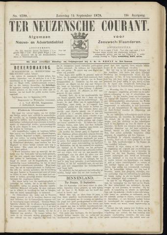 Ter Neuzensche Courant. Algemeen Nieuws- en Advertentieblad voor Zeeuwsch-Vlaanderen / Neuzensche Courant ... (idem) / (Algemeen) nieuws en advertentieblad voor Zeeuwsch-Vlaanderen 1878-09-14