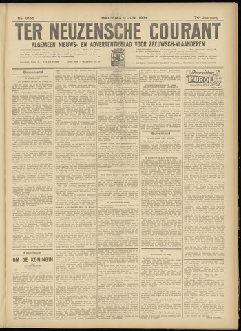 Ter Neuzensche Courant. Algemeen Nieuws- en Advertentieblad voor Zeeuwsch-Vlaanderen / Neuzensche Courant ... (idem) / (Algemeen) nieuws en advertentieblad voor Zeeuwsch-Vlaanderen 1934-06-11