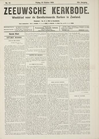 Zeeuwsche kerkbode, weekblad gewijd aan de belangen der gereformeerde kerken/ Zeeuwsch kerkblad 1929-10-25