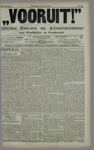 """""""Vooruit!""""Officieel Nieuws- en Advertentieblad voor Overflakkee en Goedereede 1915-07-14"""