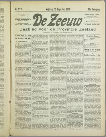 De Zeeuw. Christelijk-historisch nieuwsblad voor Zeeland 1930-08-22