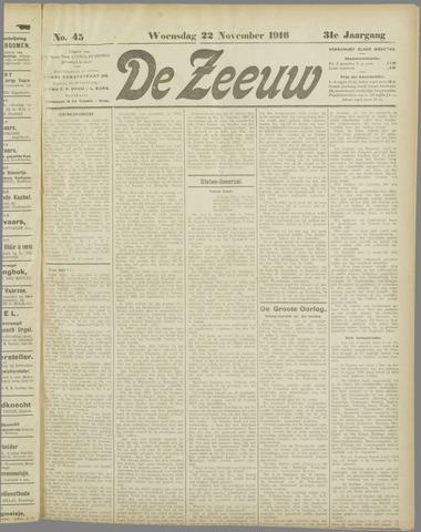 De Zeeuw. Christelijk-historisch nieuwsblad voor Zeeland 1916-11-22