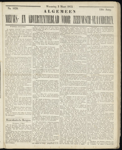 Ter Neuzensche Courant. Algemeen Nieuws- en Advertentieblad voor Zeeuwsch-Vlaanderen / Neuzensche Courant ... (idem) / (Algemeen) nieuws en advertentieblad voor Zeeuwsch-Vlaanderen 1875-03-03
