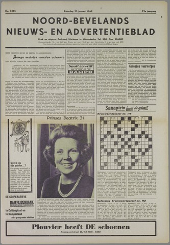 Noord-Bevelands Nieuws- en advertentieblad 1969-01-25