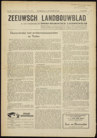 Zeeuwsch landbouwblad ... ZLM land- en tuinbouwblad 1954-08-14