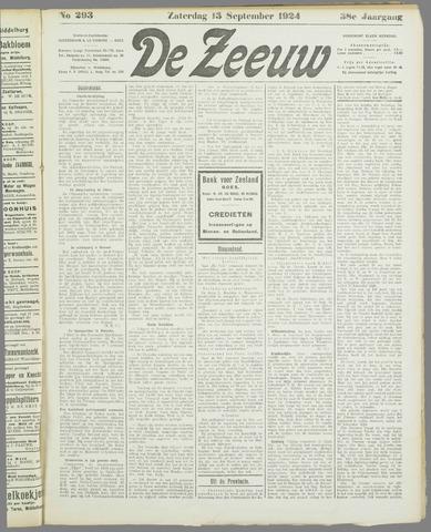 De Zeeuw. Christelijk-historisch nieuwsblad voor Zeeland 1924-09-13