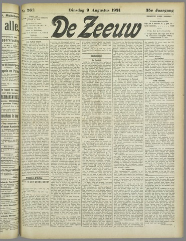 De Zeeuw. Christelijk-historisch nieuwsblad voor Zeeland 1921-08-09