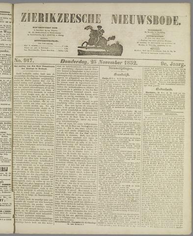 Zierikzeesche Nieuwsbode 1852-11-25