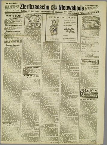 Zierikzeesche Nieuwsbode 1924-12-12