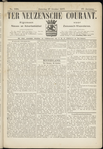 Ter Neuzensche Courant. Algemeen Nieuws- en Advertentieblad voor Zeeuwsch-Vlaanderen / Neuzensche Courant ... (idem) / (Algemeen) nieuws en advertentieblad voor Zeeuwsch-Vlaanderen 1877-10-27