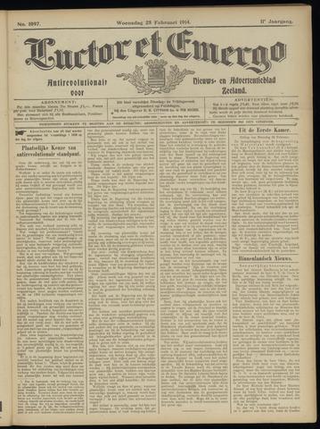 Luctor et Emergo. Antirevolutionair nieuws- en advertentieblad voor Zeeland / Zeeuwsch-Vlaanderen. Orgaan ter verspreiding van de christelijke beginselen in Zeeuwsch-Vlaanderen 1914-02-25