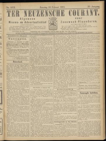 Ter Neuzensche Courant. Algemeen Nieuws- en Advertentieblad voor Zeeuwsch-Vlaanderen / Neuzensche Courant ... (idem) / (Algemeen) nieuws en advertentieblad voor Zeeuwsch-Vlaanderen 1911-02-18