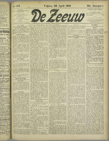 De Zeeuw. Christelijk-historisch nieuwsblad voor Zeeland 1921-04-29