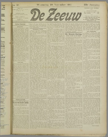 De Zeeuw. Christelijk-historisch nieuwsblad voor Zeeland 1917-11-28