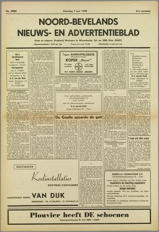 Noord-Bevelands Nieuws- en advertentieblad 1958-06-07