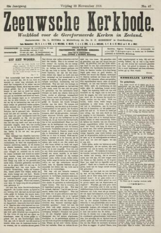 Zeeuwsche kerkbode, weekblad gewijd aan de belangen der gereformeerde kerken/ Zeeuwsch kerkblad 1918-11-22