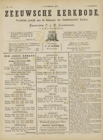 Zeeuwsche kerkbode, weekblad gewijd aan de belangen der gereformeerde kerken/ Zeeuwsch kerkblad 1890-11-08