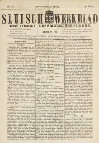 Sluisch Weekblad. Nieuws- en advertentieblad voor Westelijk Zeeuwsch-Vlaanderen 1876-07-28