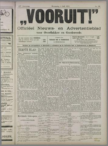 """""""Vooruit!""""Officieel Nieuws- en Advertentieblad voor Overflakkee en Goedereede 1911-07-05"""