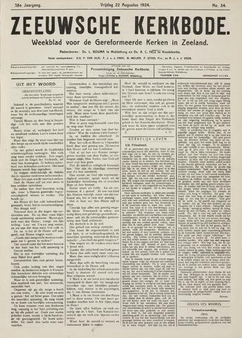 Zeeuwsche kerkbode, weekblad gewijd aan de belangen der gereformeerde kerken/ Zeeuwsch kerkblad 1924-08-22