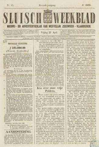 Sluisch Weekblad. Nieuws- en advertentieblad voor Westelijk Zeeuwsch-Vlaanderen 1866-04-27