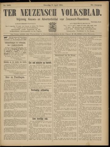 Ter Neuzensch Volksblad. Vrijzinnig nieuws- en advertentieblad voor Zeeuwsch- Vlaanderen / Zeeuwsch Nieuwsblad. Nieuws- en advertentieblad voor Zeeland 1914-04-11