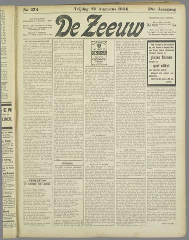 De Zeeuw. Christelijk-historisch nieuwsblad voor Zeeland 1924-08-22