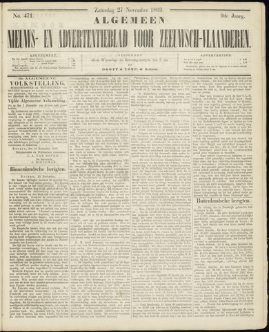 Ter Neuzensche Courant. Algemeen Nieuws- en Advertentieblad voor Zeeuwsch-Vlaanderen / Neuzensche Courant ... (idem) / (Algemeen) nieuws en advertentieblad voor Zeeuwsch-Vlaanderen 1869-11-27