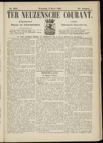 Ter Neuzensche Courant. Algemeen Nieuws- en Advertentieblad voor Zeeuwsch-Vlaanderen / Neuzensche Courant ... (idem) / (Algemeen) nieuws en advertentieblad voor Zeeuwsch-Vlaanderen 1881-03-09