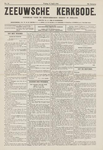 Zeeuwsche kerkbode, weekblad gewijd aan de belangen der gereformeerde kerken/ Zeeuwsch kerkblad 1936-04-17