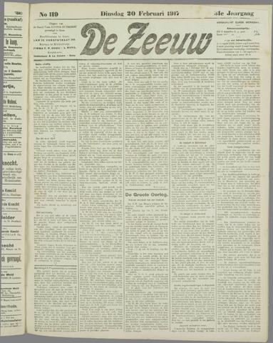 De Zeeuw. Christelijk-historisch nieuwsblad voor Zeeland 1917-02-20