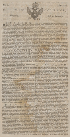 Middelburgsche Courant 1776