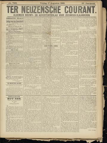 Ter Neuzensche Courant. Algemeen Nieuws- en Advertentieblad voor Zeeuwsch-Vlaanderen / Neuzensche Courant ... (idem) / (Algemeen) nieuws en advertentieblad voor Zeeuwsch-Vlaanderen 1923-08-17