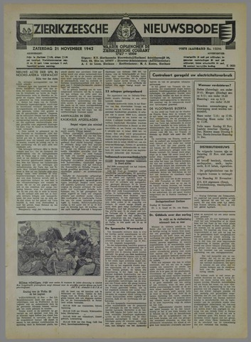 Zierikzeesche Nieuwsbode 1942-11-21
