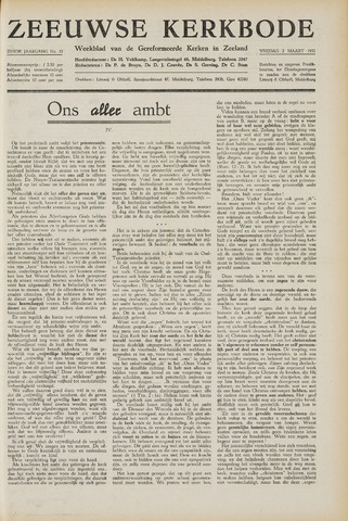 Zeeuwsche kerkbode, weekblad gewijd aan de belangen der gereformeerde kerken/ Zeeuwsch kerkblad 1951-03-02