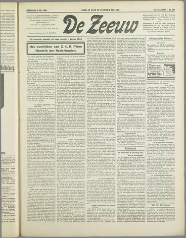 De Zeeuw. Christelijk-historisch nieuwsblad voor Zeeland 1934-07-04