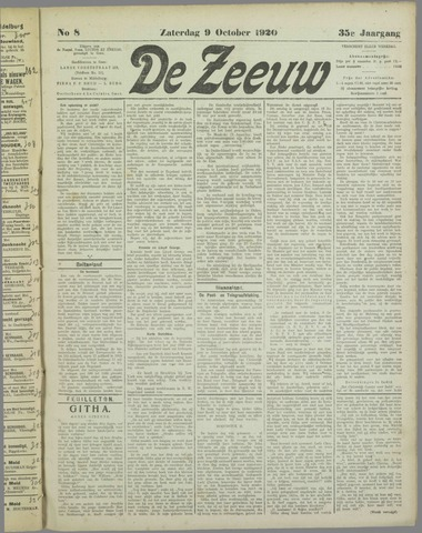 De Zeeuw. Christelijk-historisch nieuwsblad voor Zeeland 1920-10-09