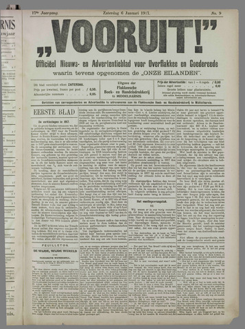 """""""Vooruit!""""Officieel Nieuws- en Advertentieblad voor Overflakkee en Goedereede 1917"""