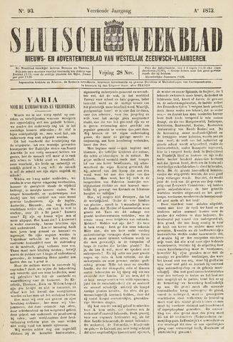 Sluisch Weekblad. Nieuws- en advertentieblad voor Westelijk Zeeuwsch-Vlaanderen 1873-11-28